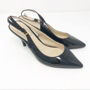 Marc Fisher Black Patent Leather Sling Back Heel 7